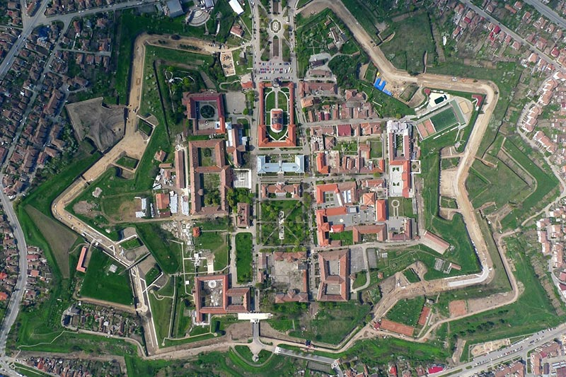 Aerial view of Alba Carolina Citadel, photo by viziteazaalbaiulia.ro