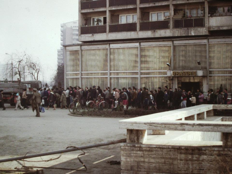 The queue for cooking oil in Bucharest, 1980s