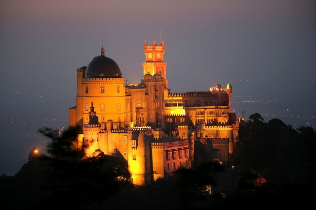 Pena National Palace at night