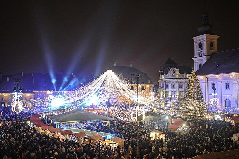 Christmas lights in Sibiu`s Old Town