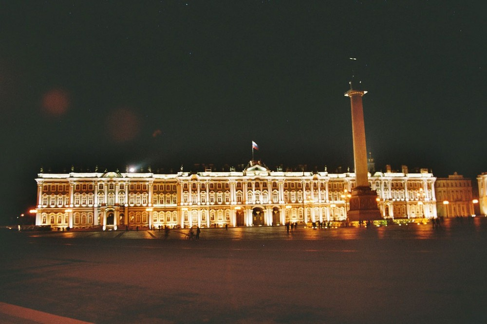 The Winter Palace of St Peterburg at night