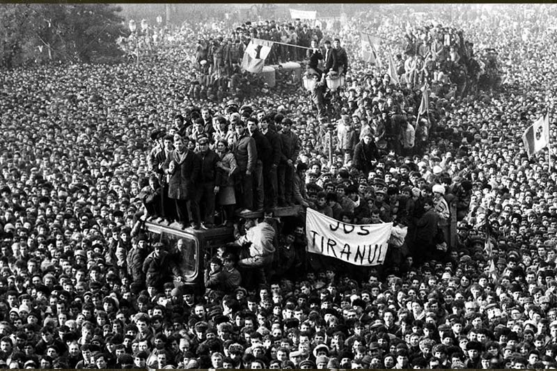 Romanian demonstrators protesting against Nicolae Ceausescu.